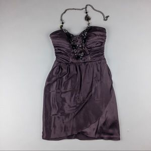 Bebe mini halter strapless dress silk purple